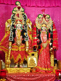 Vishnu and Lakshmi. Statue of Indian God Vishnu and Goddess Lakshmi at a temple Stock Photo