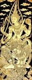 Vishnu op Garuda, het Traditionele Thaise Stijl Schilderen op Tempel  royalty-vrije stock afbeelding