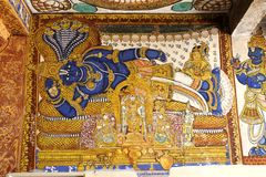 Vishnu painting at Sri Ranganathasamy temple, Trichy, India. Painting of Lord Vishnu is sleeping position found in Sri Ranganathaswamy temple, Srirangam, India Stock Photography