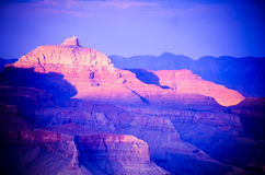 """`Vishnu Temple"""" lit up by the setting sun in Grand Canyon, from Yavapai Point. USA Royalty Free Stock Photos"""