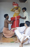 Vishnu in Theyyam-Ritueel, Kerala, India Stock Afbeeldingen