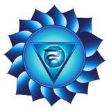 Vishuddha chakra. Fifth, throat chakra symbol. Isolated vector icon Stock Images