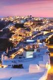 Visión única para la puesta del sol sobre Oia, Santorini, Grecia imagen de archivo libre de regalías