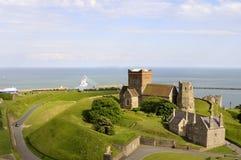 Visión aérea con el castillo de Dover Fotografía de archivo libre de regalías