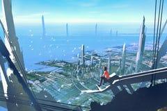 Visión aérea con el hombre que se sienta en el borde del edificio que mira la ciudad futurista