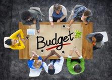 Visión aérea con el presupuesto de la gente y del texto Fotografía de archivo
