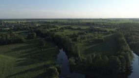 Visión aérea contra el bosque con los ríos y un pueblo metrajes