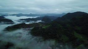 Visión aérea de niebla sobre la montaña verde en Chiang Dao, Tailandia metrajes