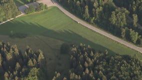 Visión aérea desde un paseo del globo, bosque negro almacen de video