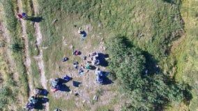 Visión aérea en el camping y el ATV, Ural almacen de video
