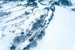 Visión aérea en el paisaje del invierno Fotos de archivo libres de regalías