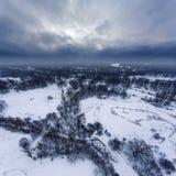 Visión aérea en el paisaje del invierno Fotos de archivo