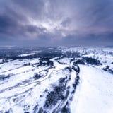 Visión aérea en el paisaje del invierno Foto de archivo libre de regalías
