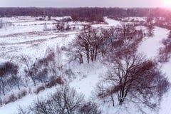Visión aérea en el paisaje del invierno Imagen de archivo libre de regalías