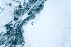 Visión aérea en el paisaje del invierno Imagenes de archivo