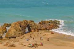 Visión aérea Pedra Furada Jericoacoara el Brasil Fotografía de archivo