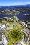 Visión aérea sobre Canberra Imágenes de archivo libres de regalías
