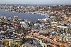 Visión aérea sobre la unión del lago y el área del este de la reina Fotos de archivo