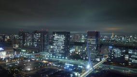 Visión aérea sobre Tokio por noche - la ciudad hermosa se enciende metrajes