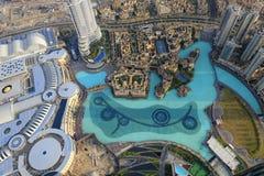 Visión abajo desde Burj Khalifa Fotos de archivo libres de regalías