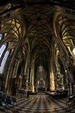 Visión amplia estupenda dentro de la catedral de St Stephen en el centro de la ciudad de Viena Fotografía de archivo libre de regalías