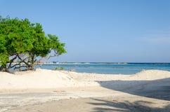 Visión asombrosa desde la playa del bebé en la isla de Aruba Fotografía de archivo
