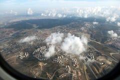 Visión Bird's-eye desde el aeroplano Fotografía de archivo libre de regalías