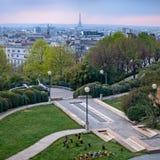 Visión de París y desde la igualdad de Belleville Imágenes de archivo libres de regalías