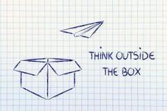 Visión del negocio: piense fuera de la caja Imágenes de archivo libres de regalías