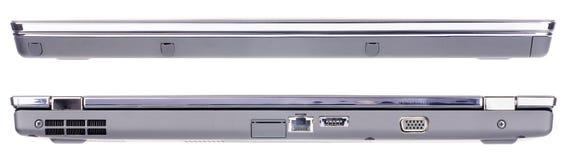 Visión delantera y trasera aislada computadora portátil Foto de archivo