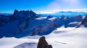 Visión desde Aguille du Midi Imagen de archivo