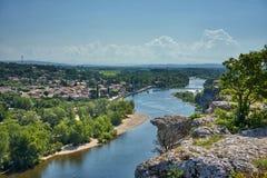 Visión desde Aigueze Cliff At The Ardeche River Francia imágenes de archivo libres de regalías