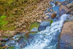Visión desde arriba de la cascada que cae abajo, paisaje del bosque con una cascada, donde comienza la pendiente para regar Fotografía de archivo libre de regalías