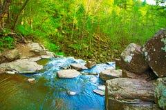 Visión desde arriba de la cascada que cae abajo, paisaje del bosque con una cascada, donde comienza la pendiente para regar Foto de archivo