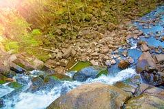Visión desde arriba de la cascada que cae abajo, paisaje del bosque con una cascada, donde comienza la pendiente para regar Imágenes de archivo libres de regalías