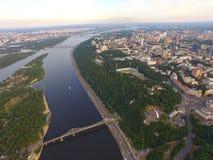 Visión desde arriba de la ciudad de Kyiv, Ucrania Imagen de archivo