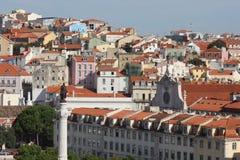 Visión desde arriba del cuadrado de Rossio en Lisboa Imagenes de archivo