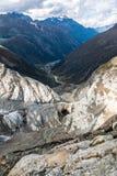 Visión desde arriba del glaciar de Pitztal Fotografía de archivo libre de regalías