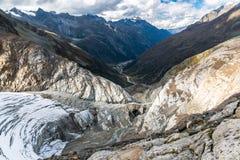 Visión desde arriba del glaciar de Pitztal Fotos de archivo libres de regalías