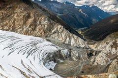 Visión desde arriba del glaciar de Pitztal Imagen de archivo libre de regalías