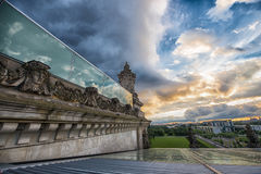Visión desde arriba del Reichstag alemán, el parlamento Imagenes de archivo