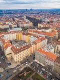 Visión desde arriba desde Praga, distrito de Zizkov imagen de archivo libre de regalías