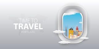 Visión desde el aeroplano Ventana del vuelo portugal Bandera plana del vector del web ilustración del vector