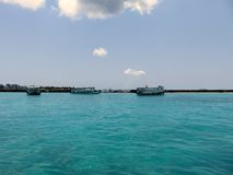 Visión desde el aeropuerto internacional de Velana - Maldivas Imagen de archivo libre de regalías