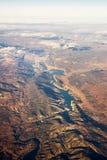 Visión desde el avión del lago artificial marcha de Castilla fotografía de archivo