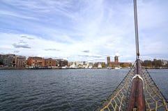 Visión desde el barco de navegación a Oslo y al fiordo de Oslo fotos de archivo libres de regalías
