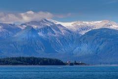Visión desde el barco del reloj de la ballena en Juneau Alaska foto de archivo libre de regalías
