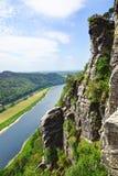 Visión desde el Bastei en el río Elbe, Alemania fotos de archivo libres de regalías