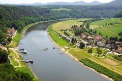 Visión desde el Bastei en el río Elbe, Alemania fotografía de archivo libre de regalías