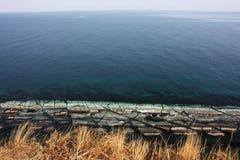 Visión desde el cabo de Vyatlina, isla de Russky fotografía de archivo libre de regalías